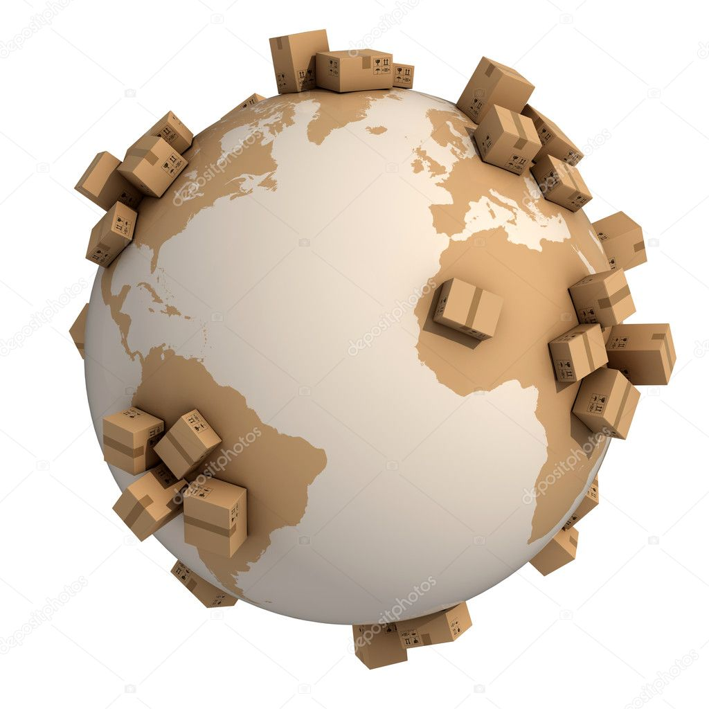 Cardboard boxes around the world - global shipment 3d concept — Stock Photo #9654188