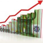 Euro growth diagram — Stock Photo