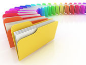 Many colorful folders on the white background — Stock Photo