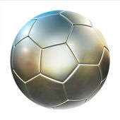 Shiny football (soccer ball) on the white background — Stock fotografie