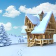 Winter or Christmas scene - log house in a mountain — Stock Photo