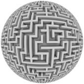 Labyrinth planet - endless maze with spherical shape — Stock Photo