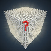 Question mark inside cubical maze — Stock Photo