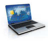 On line shopping 3d concept - credit card laptop — Stock Photo