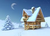 Vinter eller jul scen - timmerhus i ett berg — Stockfoto