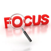 In the focus icon - focus 3d letters under the magnifier — Stock Photo