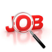 Job search icon - job 3d letters under the magnifier — Stock Photo
