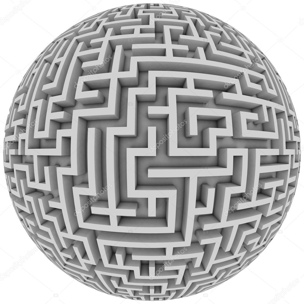Labyrinth planet - endless maze with spherical shape 3d illustration — Stock Photo #9791011