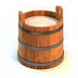 Milk wooden bucket — Stock Photo