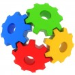 3d colorful gears on white background — Stock Photo