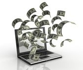 Earning money over the internet 3d concept — Stock Photo