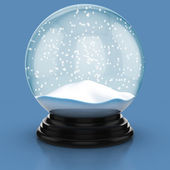 Empty snow dome over blue background — Stock Photo