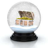 Open treasure chest within snow dome — Stock Photo