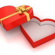 Open empty hearth shaped gift box over white background — Stock Photo