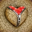 New love 3d concept - new shiny heart under broken one — Stock Photo #9966018