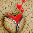 New love 3d concept - new shiny heart under broken one — Stock Photo #9966050
