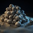Pile of skulls in the dark — Stock Photo