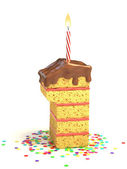 Number one shaped chocolate birthday cake with lit candle and confetti — Stock Photo
