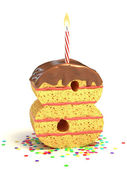 Number eight shaped chocolate birthday cake with lit candle and confetti — Stock Photo