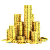 Golden coins isolated — Stock Photo