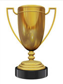 3d trophy old gold — Stock Photo
