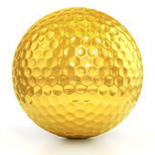 Golden golf ball isolated over white background — Stock Photo