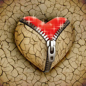 New love 3d concept - new shiny heart under broken one — Stock Photo