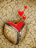 New love 3d concept - new shiny heart under broken one — Stock Photo