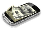 Dollars inside smart phone 3d concept — Stock Photo