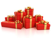 Gift boxes over white background — 图库照片