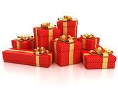 Gift boxes over white background — Stockfoto