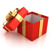 Open red present box with golden ribbon isolated over white background. — Stock Photo