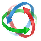 Colorful 3d arrows circling around symbolizing protection or motion — Stock Photo