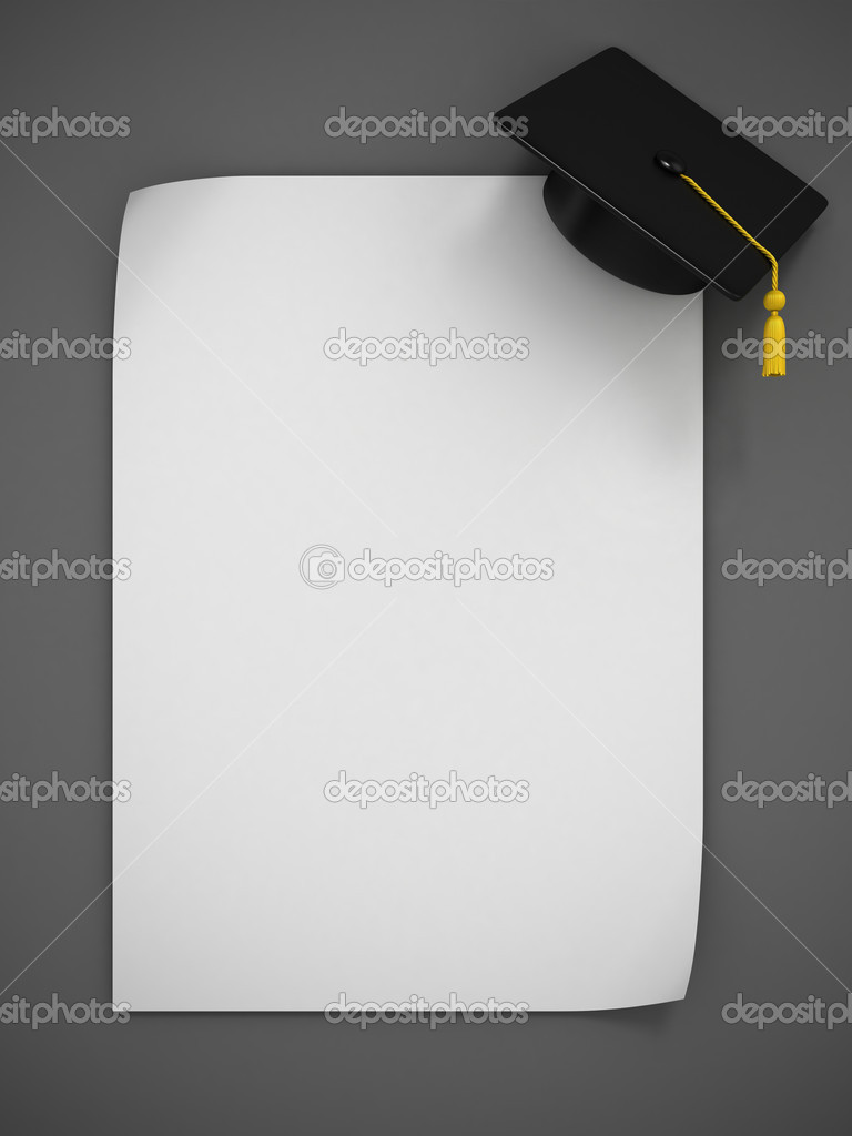 Graduation Cap 3d rendering - two variations illustration  Stock Photo #9961958