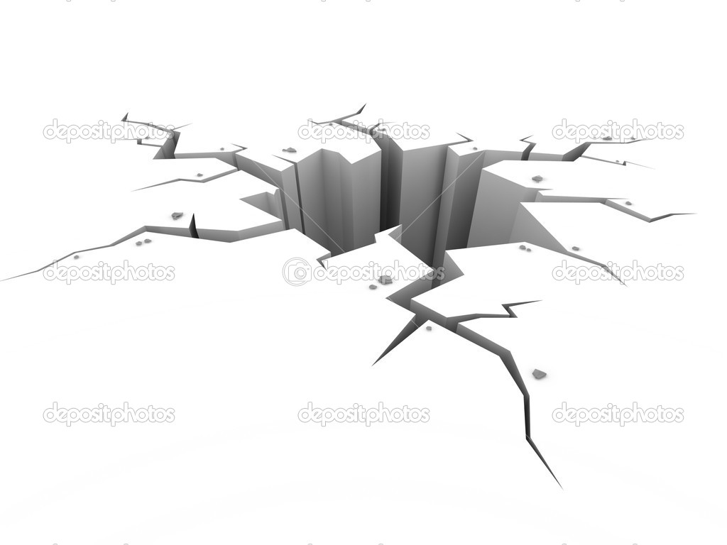 Earth ground crack on white 3d isolated illustration — Stock Photo #9965736