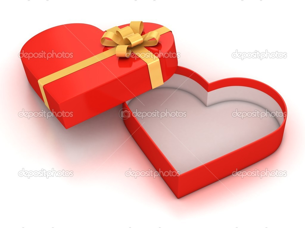 Open empty hearth shaped gift box over white background 3d illustration — Stock Photo #9965892