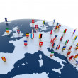 European continent marked with flags - Stock Photo