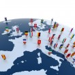 Stock Photo: Europecontinent marked with flags