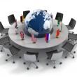 Birleşmiş Milletler, küresel politika, diplomasi, strateji, çevre, dünya liderliği 3d konsept — Stok fotoğraf