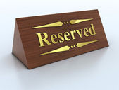 Illustration of reservation sign with golden letters — Stock Photo
