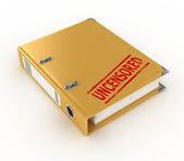 Yellow ring binder with uncensored stamp isolated on the white background — Stock Photo
