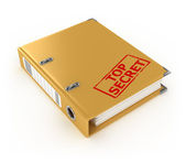 Yellow ring binder with top secret stamp isolated on the white background — Stock Photo