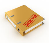 Yellow ring binder with rejected stamp isolated on the white background — Stock Photo