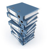 A pile of blue ring binders isolated on the white background — Stock Photo