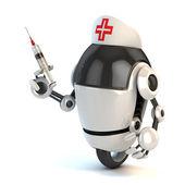 Robot nurse holding the syringe — Stock Photo