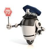 Policier de circulation robot tenant le panneau d'arrêt — Photo