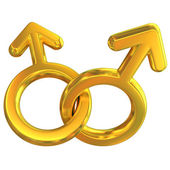 Two male symbols crossed representing gay relationship — Stock Photo