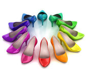 Colorful women's shoes — Stock Photo