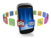 Application icons around smart phone 3d concept — Stock Photo