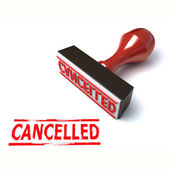 3d stamp cancelled — Stock Photo